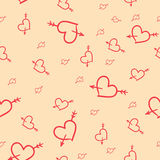 Valentine seamless pattern of hearts. Hand-drawn Saint Valentine seamless pattern of hearts Royalty Free Stock Images