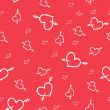Valentine seamless pattern of hearts. Hand-drawn Saint Valentine seamless pattern of hearts Stock Images