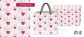 Valentine seamless pattern with hearts and packing mocup. Seamless romantic pattern with hand drawn ornamental hearts for valentine pack paper, packing gift Royalty Free Stock Photography