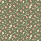 Valentine seamless pattern with hearts and roses Royalty Free Stock Photos