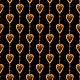 Valentine seamless pattern hearts texture black background Stock Photos