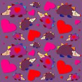 Hedgehog and hearts seamless pattern - vector Royalty Free Stock Photos