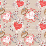 Valentine seamless pattern with rings and hearts Royalty Free Stock Image