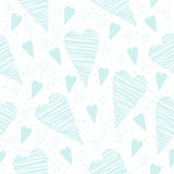 Valentine seamless pattern with turquoise hearts on a white background Stock Photo