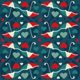 Valentine seamless pattern with umbrellas - vector Stock Photography