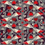 Valentine seamless pattern with umbrellas- vector Stock Images
