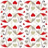 Valentine seamless pattern with umbrellas - vector. Valentine seamless pattern with umbrellas and hearts. Useful also as design element for gift wrapping. Eps Royalty Free Stock Photos