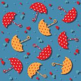 Umbrellas and hearts seamless pattern - vector Stock Photography