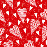 Valentine seamless pattern with white hearts on a red background Stock Image