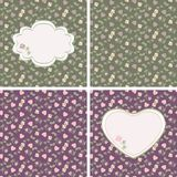 Valentine seamless patterns with hearts and roses royalty free illustration