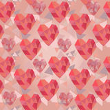 Valentine seamless texture with geometrical hearts Stock Image