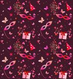 Valentine seamless wallpaper. With masque, gift boxes and butterflies Stock Photo