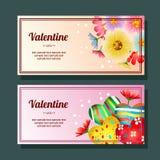 Valentine season love heart and flower horizontal banner. Colorful valentine season love heart and flower horizontal banner royalty free illustration