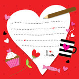 Valentine Sent You With Love Paper heart Cute Cartoon Vector Royalty Free Stock Image