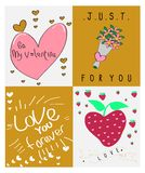VALENTINE hand drawn backgrounds with flat design stock illustration