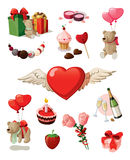Valentine set. Set of elements for st. Valentine's day. Isolated on white background Stock Image