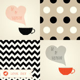 Valentine set with cards and patterns Stock Photos