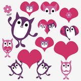 Valentine set with cute animals Royalty Free Stock Images