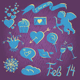 Valentine set. Set of doodle drawings for Valentines Day Royalty Free Stock Images