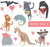 Valentine set of fun animals with hearts and flowers, smiling, cute, with closed and open eyes. Vector kind illustration isolated Stock Photography