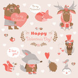 Valentine set of fun animals with hearts and. Vector set of fun animals with hearts and flowers Royalty Free Stock Images