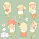 Valentine set girl in love. Stock Photos