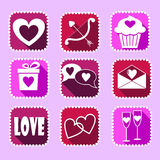 Valentine. Set of valentine icons on a pinck background Stock Images