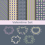 Valentine set with patterns and stickers Royalty Free Stock Image