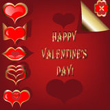 Valentine set of red and golden hearts Stock Images