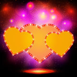 Valentine shining background with hearts Royalty Free Stock Photos