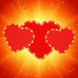 Valentine shining background with hearts Stock Image