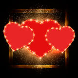 Valentine shining background with hearts Stock Photos