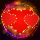 Valentine shining background with hearts Stock Images