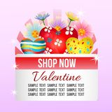 Valentine shop theme with candy heart and flower. Colorful valentine shop theme with candy heart and flower stock illustration