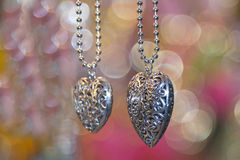 Valentine silver hearts Royalty Free Stock Photo