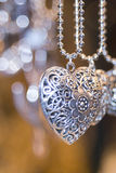 Valentine silver hearts Royalty Free Stock Image