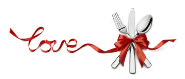 Valentine silverware in red ribbon love design element isolated Stock Photos