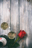 Valentine: Single Rose And Glasses Of Champage Stock Images