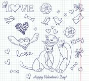 Valentine sketch. Cat copybook couple Stock Photography