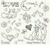 Valentine sketch. Cat copybook couple Royalty Free Stock Photo