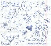 Valentine sketch. Cat copybook couple Stock Images