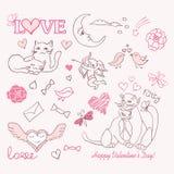 Valentine sketch. Cat copybook couple Stock Photo