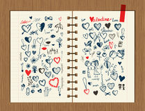 Valentine sketch on notebook sheet for your design Royalty Free Stock Images