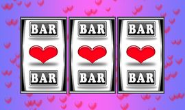 Valentine slot machine stock image