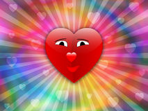 Valentine with smile heart. On blurry background Royalty Free Stock Images