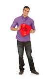 Valentine: Smiling Man With Romantic Candy Box Gift Stock Photo