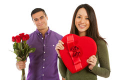 Valentine: Smiling Woman Holds Heart Shaped Box Of Candy Royalty Free Stock Images