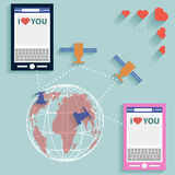 Valentine SMS worldwide flat style vector Royalty Free Stock Images