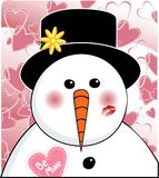 Valentine Snowman Royalty Free Stock Photos