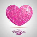 Valentine sparkle pink love heart Royalty Free Stock Image